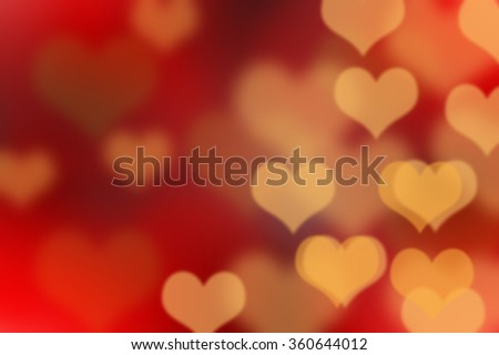 Color Bokeh dark background with hearts for use in graphic design - stock photo