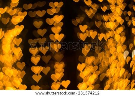 Color Bokeh heart shape background - stock photo
