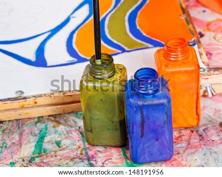 color bottles with dyes for cold batik painting - stock photo