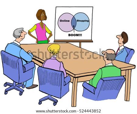 Color Business Illustration Meeting Venn Diagram Stock Illustration