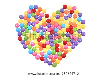 color candy heart isolated on the white background - stock photo