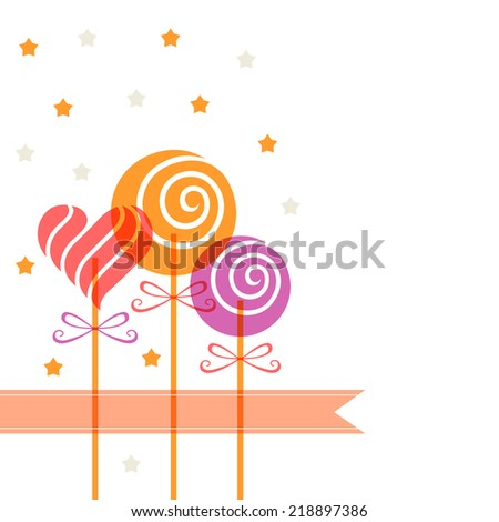 Color candy in heart swirl shape and banner. Decorative background. Illustration for print, web - stock photo