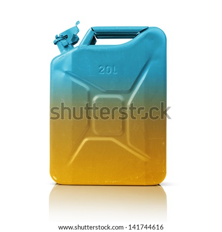 Color canister of gasoline on white background. File contains a path to isolation. - stock photo