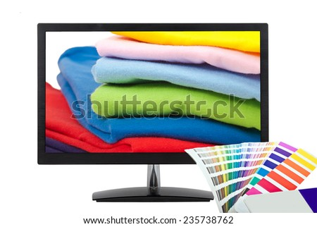color chart, computer monitor and t shirts isolated on white background - stock photo