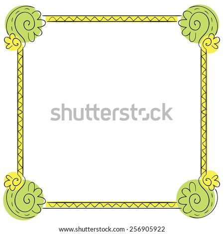 color children's frame on white background - stock photo