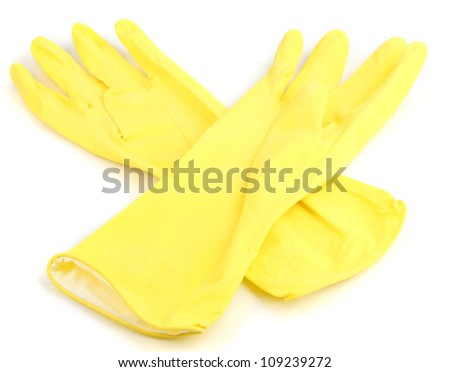 Color cleaning gloves isolated on white - stock photo