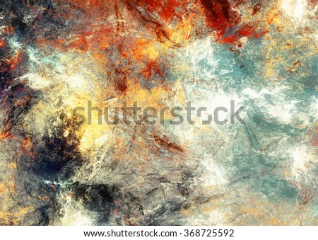 Color clouds. Abstract painting texture with lighting effect. Bright artistic background. Modern multicolor futuristic dynamic pattern. Fractal artwork for creative graphic design - stock photo