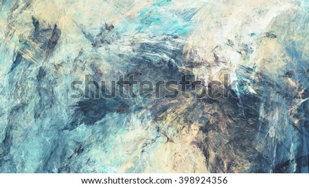 Color clouds. Artistic splashes of bright paints. Abstract blue background with lighting effect. Modern bright painting texture for creative graphic design. Shiny pattern. Fractal artwork