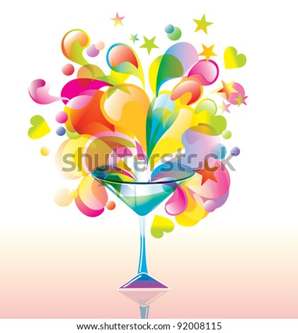Color cocktail with great splash - stock photo