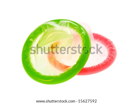 Color Condoms isolated on white background - stock photo