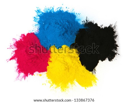 Color copier toner cyan magenta yellow isolated on white background - stock photo