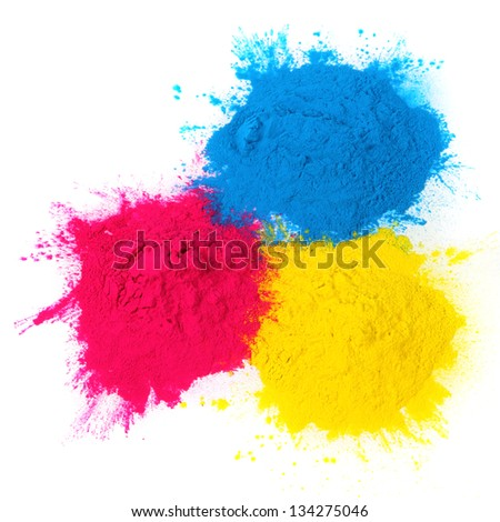 color copier toner isolated on white background - stock photo
