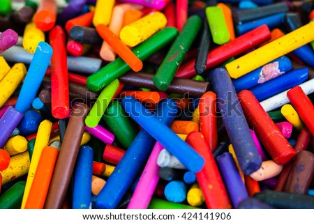 color crayons, crayons,color,color background,worn crayons,used crayons,bakground,scattered crayons,school,education,objects - stock photo