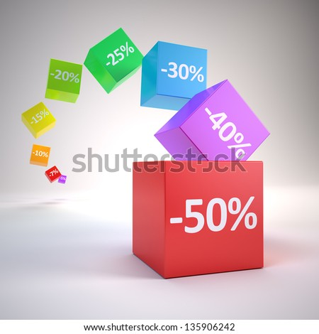 Color cubes with discount percents
