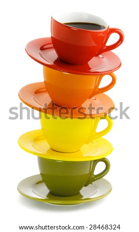 Color cups on a white background