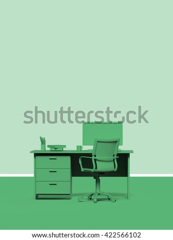 color 3d render of office desk  with place for headline and text template modern style. business data report, presentation, web page, brochure, leaflet, flyer, poster and advertising.