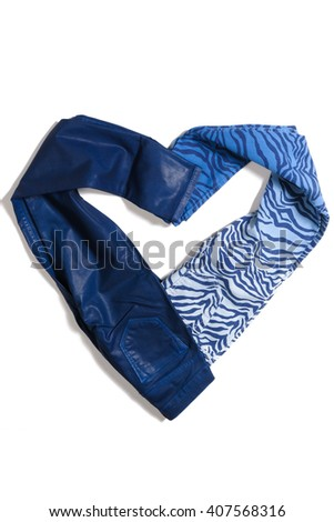Color dark blue jeans isolated on white background heart shaped - stock photo