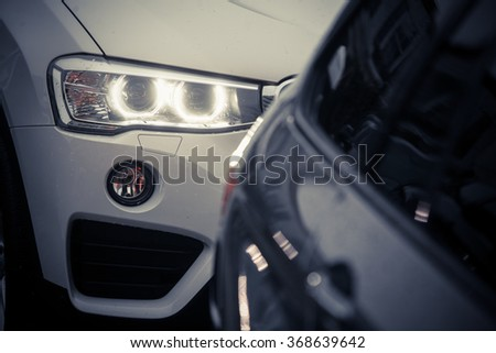Color detail image of a car's LED headlight.