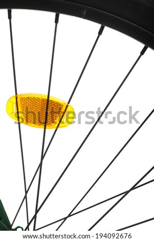 Color detail of the wheel of a bicycle, with spokes.