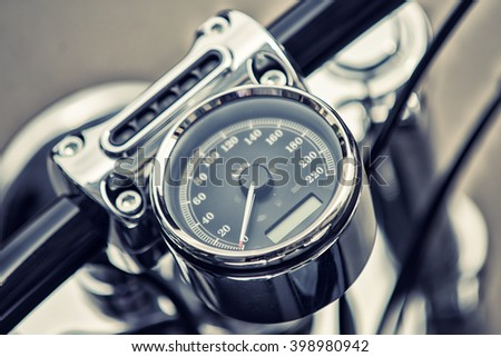 Color detail with the speedometer of a motorcycle. - stock photo