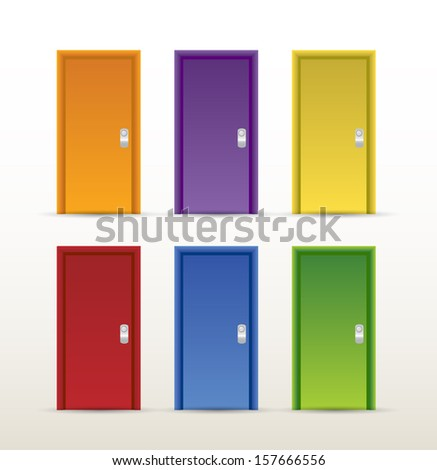 color doors illustration design over a white background
