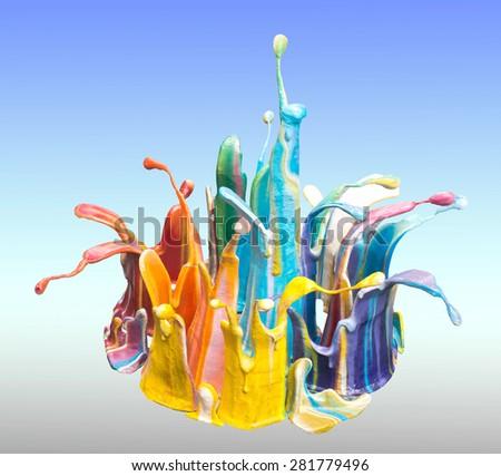 color drop and paint splash - stock photo