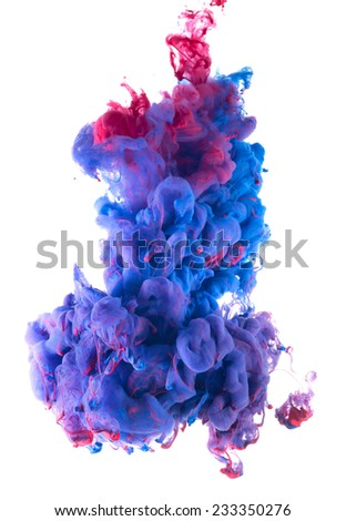 Color drop in water, photographed in motion. Ink swirling in water. Cloud of silky ink in water isolated on white background. Colorful ink underwater, ink drop.