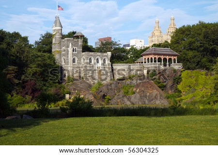 Color DSLR image of Belvedere Castle in Central Park, New York City, shot across the Great Lawn and Turtle Pond; in horizontal orientation with copy space for text. - stock photo