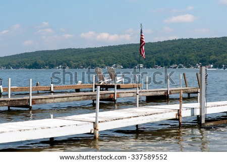 Color DSLR image of docks on Conesus Lake (a New York Finger Lake) - stock photo