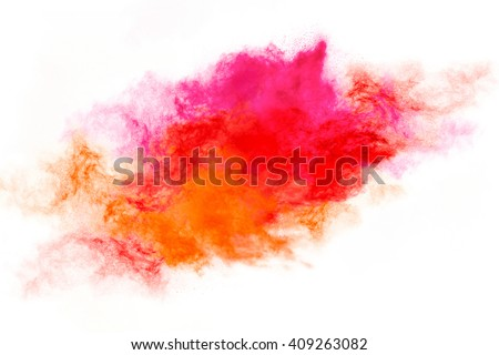 Color explosion. Abstract design of a colorful dust cloud isolated on white background - stock photo