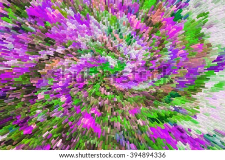 color extrusion floral background, bright colorful abstract, extrusion blocks and pyramids, the gradient for the background and texture, 3D   flowers, floral pattern fabric and fashion design
