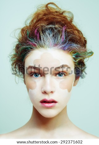 creative hair up styles color portrait fashion stock photo 4940 | stock photo color face art beauty portrait fashion model woman creative hair style and make up 292371602