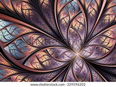 Color fantasy artistic flower. Beautiful abstract background for wallpaper, interior, album, flyer cover, banner, booklet. Fractal artwork for creative vintage graphic design - stock photo