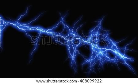 Color fantasy lightning sparks on a black background - stock photo