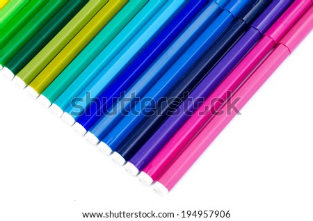 color felt-tip pens the isolated - stock photo