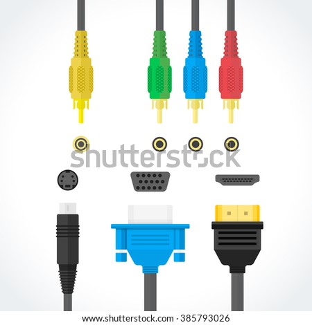 color flat design video connectors plugs S-Video RCA component HDMI VGA port illustration collection isolated white background  - stock photo