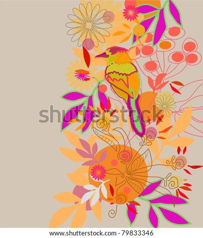 Color floral background with bird