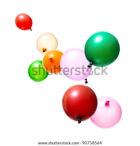 Color flying balloons isolated on white - stock photo