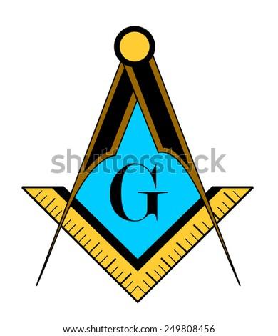 color freemason symbol illustration isolated on white background - stock photo