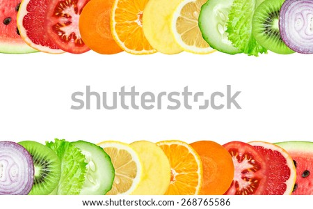 Color fruit and vegetable slices on white background. Food concept - stock photo