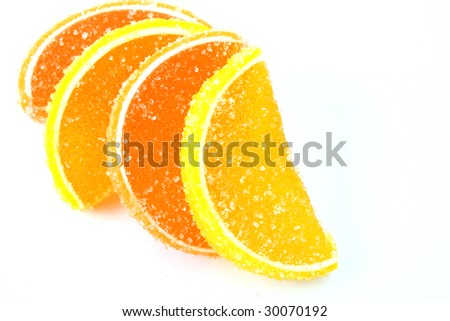 Color fruit jelly isolated on white background