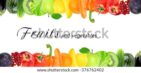 Color fruits and vegetables. Fresh food concept - stock photo