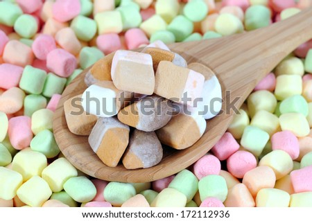 color full marshmallow with wooden spoon