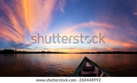 Color full sunset in amazon - stock photo