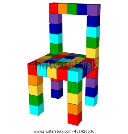 Color furniture 3d. Chair made of color cubes isolated. Abstract chair in rainbow colors.  - stock photo