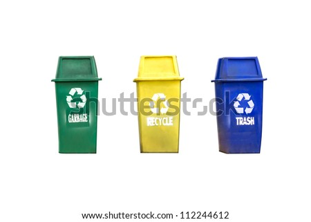 Color garbage bins isolated on white background - stock photo