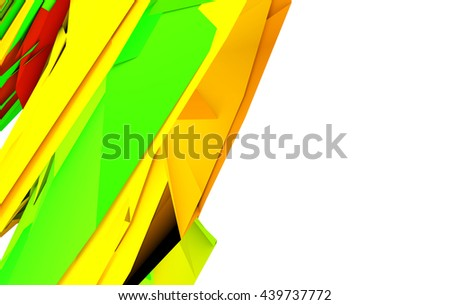 Color geometric pattern. 3d render illustration. Copyspace white background - stock photo