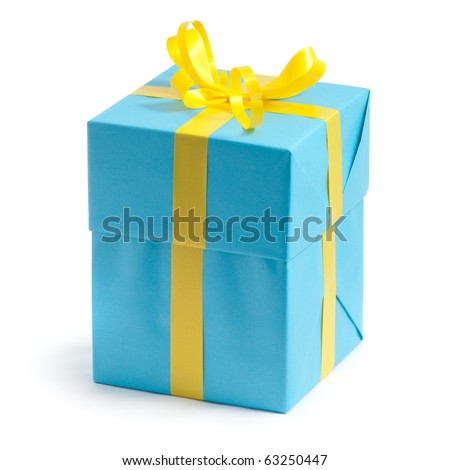 color gift box on white background
