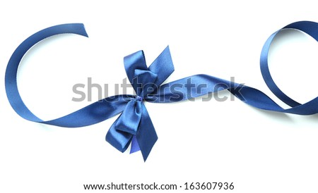 Color gift satin ribbon bow, isolated on white - stock photo