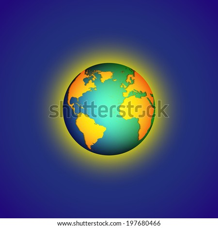 Color Globe world map on blue background with shadow illustration
